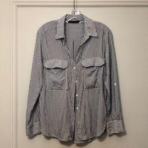 Zara striped button down blouse